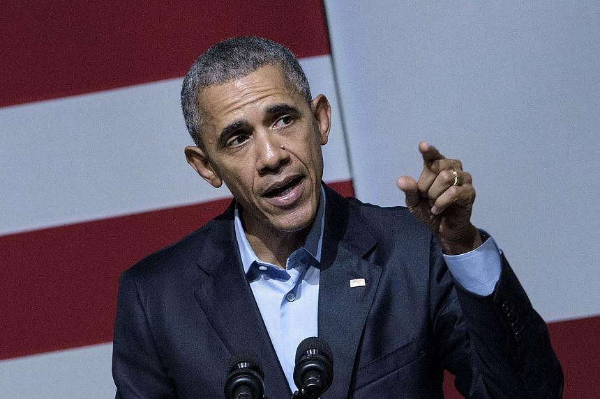 US President Barack Obama speaks at a Democratic National Committee event at the Warfield Theater on Oct 10, 2015, in San Francisco, California.