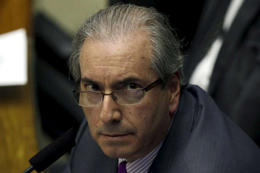 President of Brazil's Chamber of Deputies Eduardo Cunha participates in a session of the chamber in Brasilia, Brazil, on Sept 22, 2015.