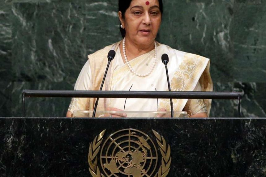 Ms Sushma Swaraj, Minister of External Affairs of India, address the 70th session of the United Nations General Assembly at the United Nations headquarters in New York, USA, on Oct 1, 2015.