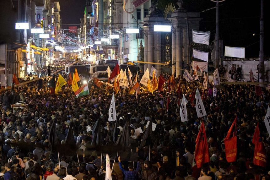 Thousands of people rally against violence in Istanbul as they gather in, Istanbul, Turkey, on Oct 10, 2015, in reaction to the twin blasts in Ankara.