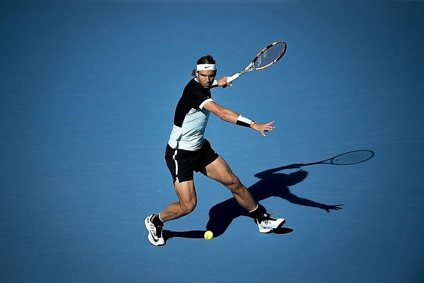 Rafael Nadal returning to Fabio Fognini of Italy in their semi-final in Beijing. The Spanish star avoided a fourth defeat of the year against his opponent, attributing it to more aggressive positioning on the court.
