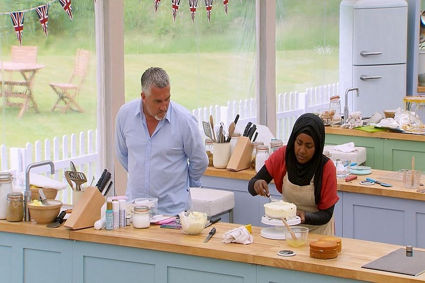 LEFT: Mr Abdal Hussain and his wife Nadiya in a photo on his Facebook page. ABOVE: Mrs Hussain in action during one episode of The Great British Bake Off contest.