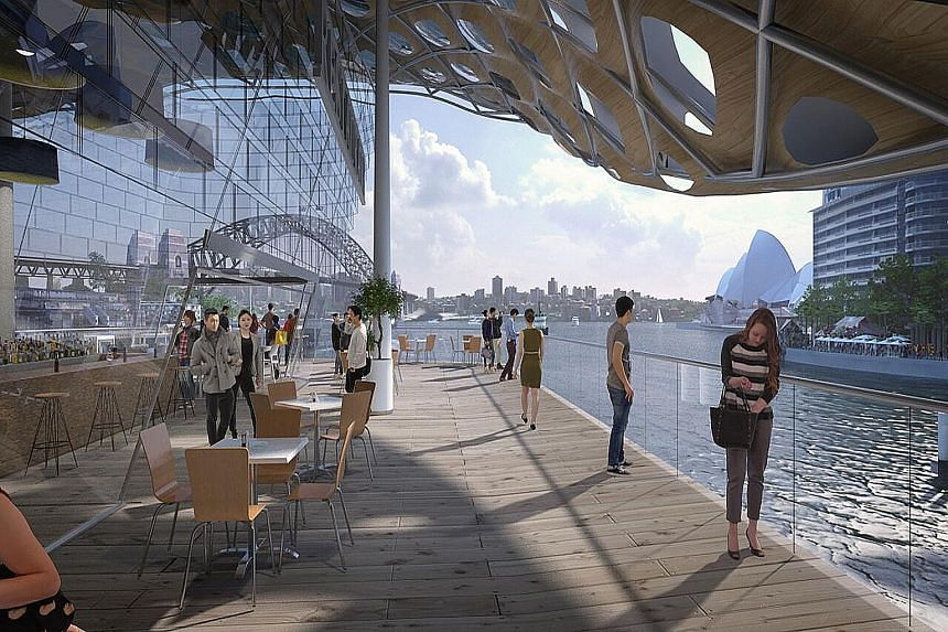 The proposed design (above) for Sydney's iconic Circular Quay, with plans for multi-storey ferry terminals and a shopping centre. The properties for sale are worth a total of about A$200 million (S$204 million). Construction is set to begin by 2019.