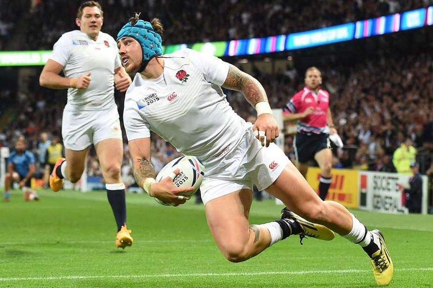 England's wing Jack Nowell scores England's sixth try.