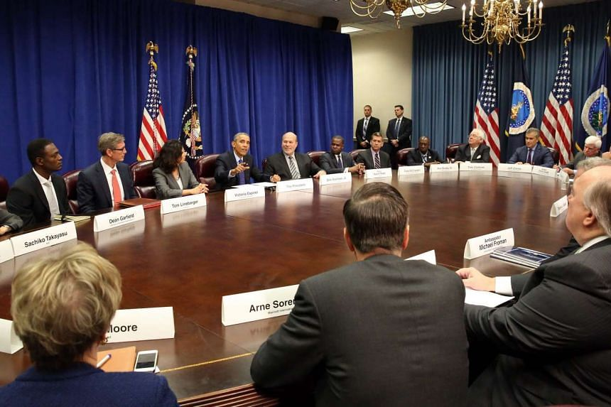 US President Barack Obama meets with agriculture and business leaders on the benefits of the Trans-Pacific Partnership for American business and workers, at the Department of Agriculture in Washington, DC, USA, Oct 6, 2015.
