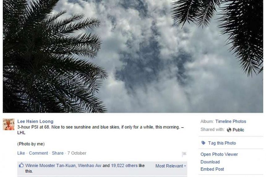 Screengrab from Prime Minister Lee Hsien Loong's Facebook page of a post uploaded on Thursday, shows him voicing his gratitude when the haze made way for clear skies for a change.