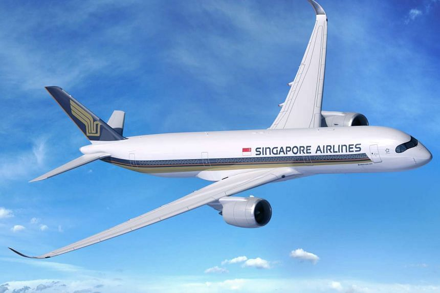 An artist's impression of an Airbus A350 in Singapore Airlines livery.