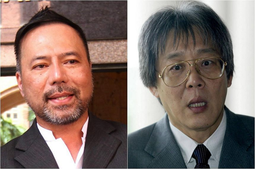 Former Umno branch leader Datuk Seri Khairuddin Abu Hassan (left) and his lawyer Matthias Chang (right) were charged on Oct 12, 2005, with attempting to sabotage the Malaysian economy as well as the financial and banking system.