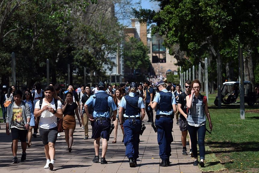 Australian Police officers patrol the University of New South Wales (UNSW) in Sydney, Australia, on Oct 12, 2015.