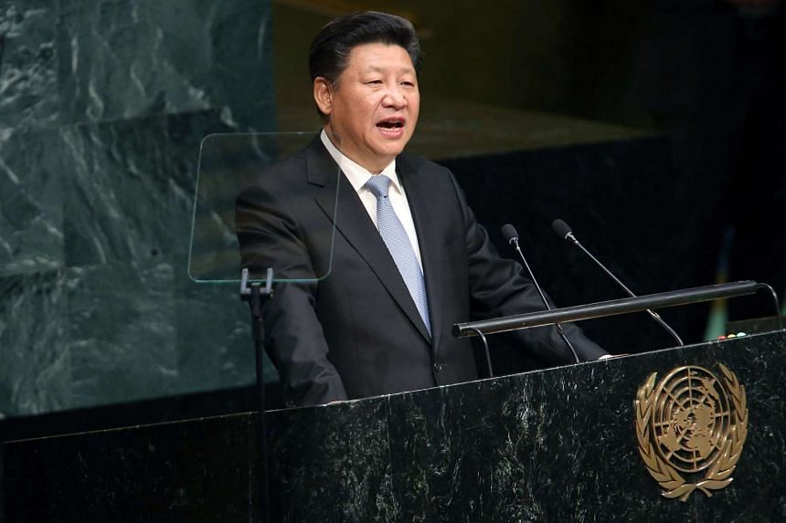 People's Republic of China President Xi Jinping delivers remarks at the United Nations General Assembly at UN headquarters on Sept 28, 2015, in New York City.