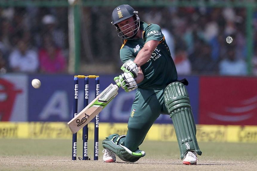 South Africa's AB de Villiers plays a shot during their first one-day international cricket match against India in Kanpur, India, on Oct 11, 2015.