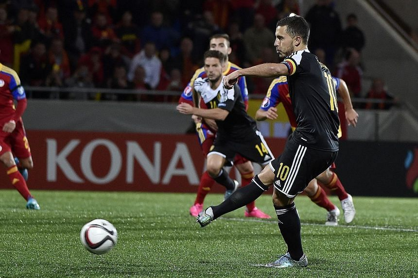 """Eden Hazard scoring a penalty to put Belgium 3-1 up. He missed another later and admitted he is in the """"worst form of his life""""."""