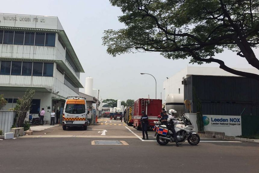 SCDF vehicles parked at the premises of Leeden National Oxygen Ltd, where a fire reportedly broke out on Oct 12, 2015.