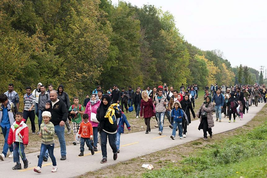 Migrants journeying to Austria from the Croatian border.