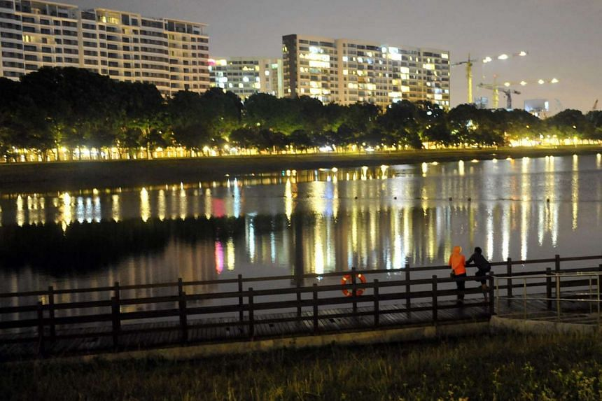 Visitors at the Bedok Reservoir Park.