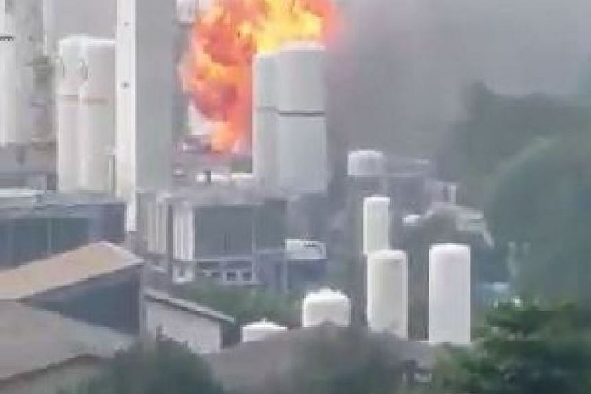 An explosion occurred during a factory fire that broke out in Jurong on Oct 12, 2015.