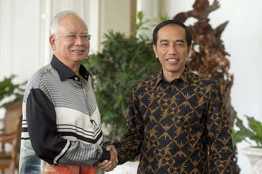 Indonesia's President Joko Widodo (right) shakes hand with Malaysia's Prime Minister Najib Razak at the Presidential Palace in Bogor, Indonesia's West Java province, on Oct 11, 2015.