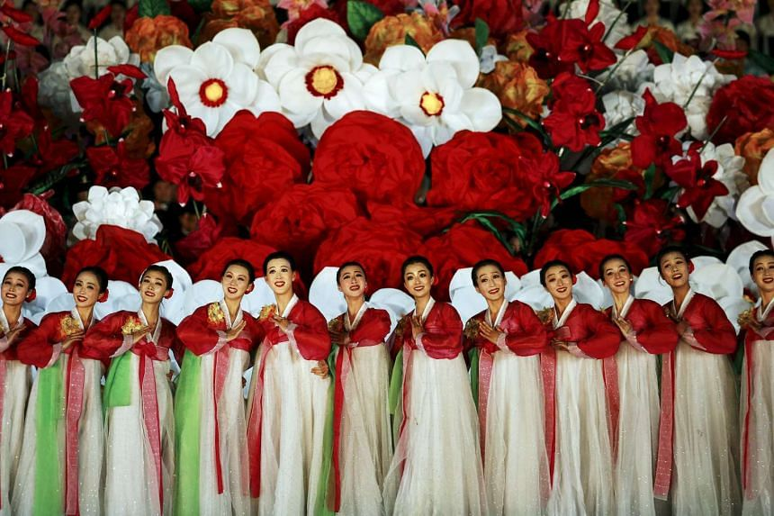 Performers dance during a gala show celebrating the 70th anniversary of the founding of the ruling Workers' Party of Korea, in Pyongyang, North Korea on Sunday.