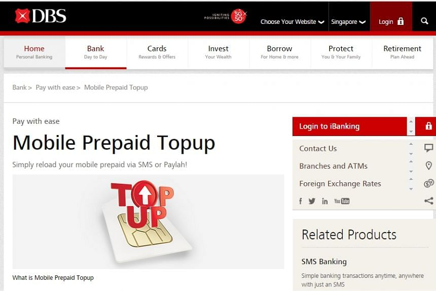 Topping up your pre-paid SIM card is now just an SMS away, thanks to a tie-up between DBS Bank and the three local telcos.