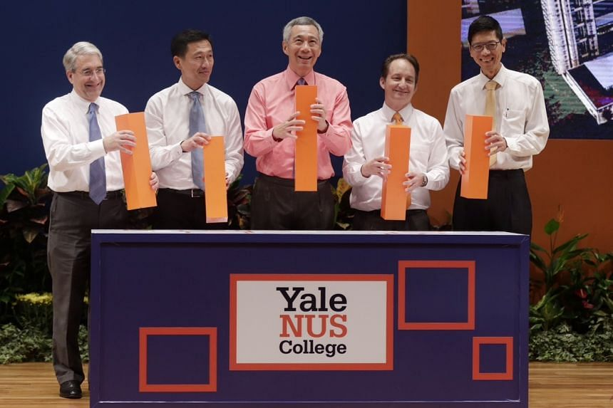 (From left) President of Yale University Professor Peter Salovey, Acting Minister for Education (Higher Education and Skills) Mr Ong Ye Kung, Prime Minister Lee Hsien Loong, Founding President of Yale-NUS College Professor Pericles Lewis, and Preside