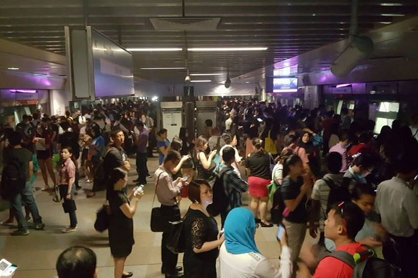 A crowded platform at Serangoon NEL train platform.