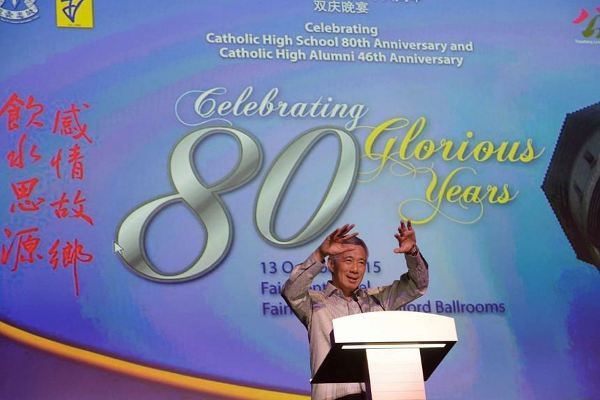PM Lee said that Catholic High's emphasis on values and character development has not changed.