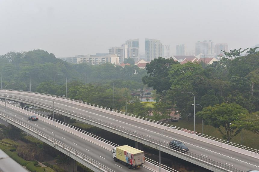 Hazy outlook overlooking the Central Expressway on Oct 13, 2015.