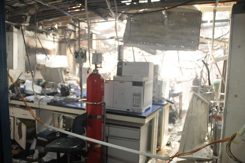 What the laboratory looked like after the fire and explosions at Leeden National Oxygen, a local gas manufacturing company in Tanjong Kling Road.