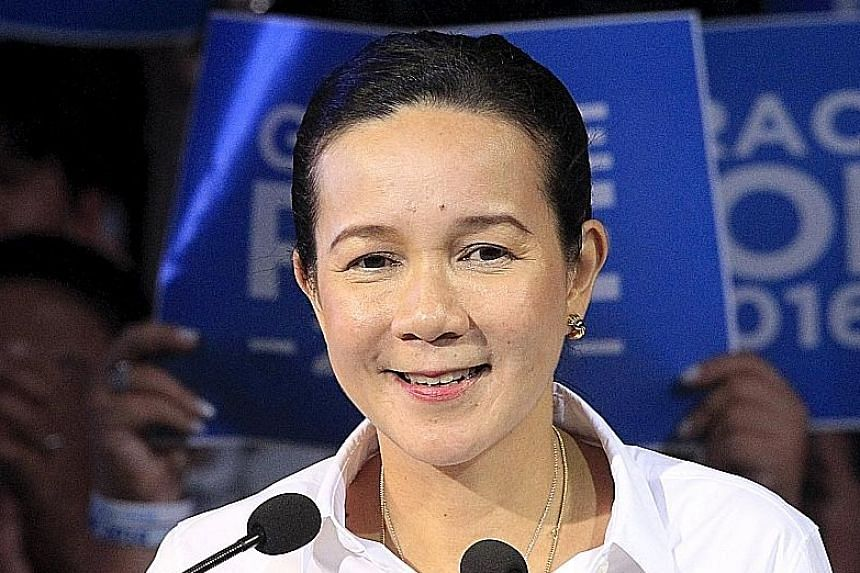 Senator Grace Poe (above) references her father, Mr Fernando Poe Jr, in her speeches.