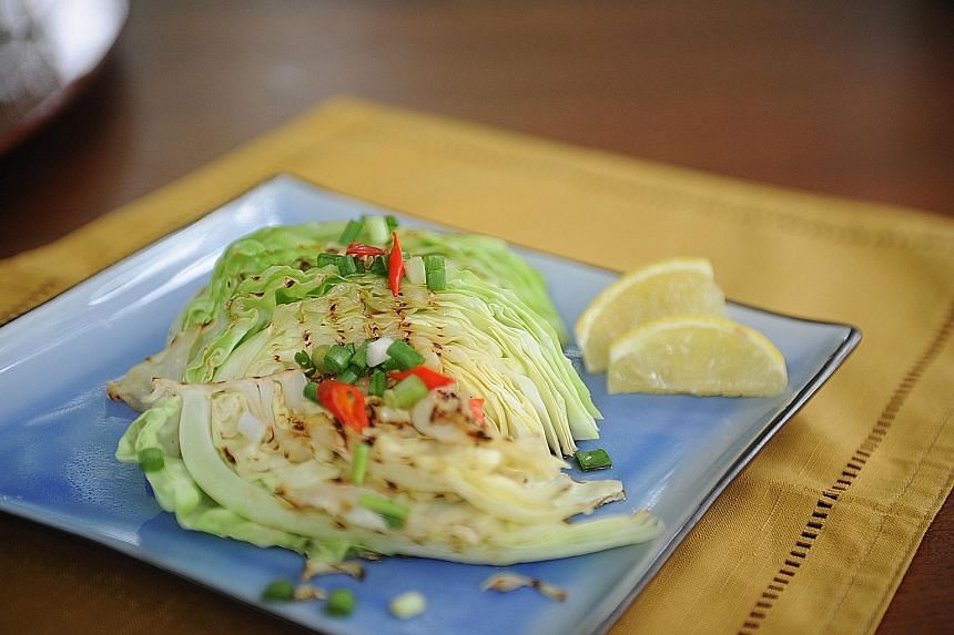 Seared cabbage wedges with garlic oil and soya sauce