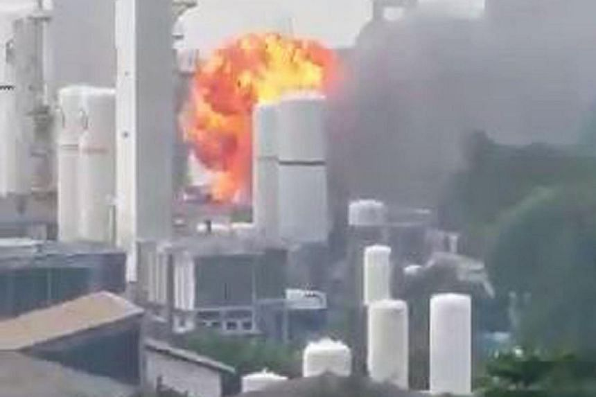 Several explosions were heard as a fire engulfed a ground floor laboratory at Leeden National Oxygen in Tanjong Kling Road yesterday. Four of those injured in the fire remain warded at NUH.