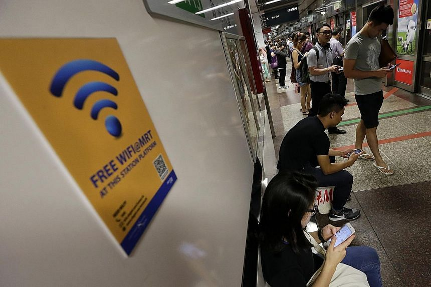 Currently, commuters can know which MRT stations have free Wi-Fi on the platforms through advertisement posters and decals.