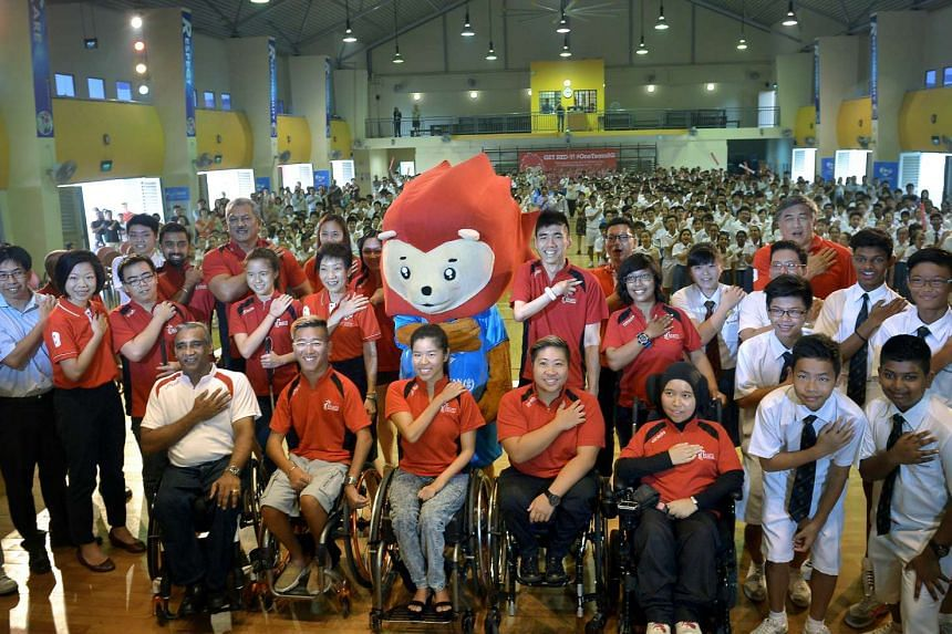 MCCY Minister Grace Fu at the ceremony at Bendemeer Secondary School to mark the 50-day countdown to the Asean Para Games.