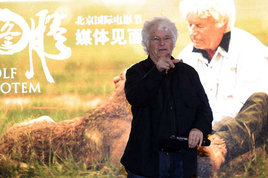 French director Jean-Jacques Annaud attending a press conference in Beijing for his movie Wolf Totem in Beijing on April 21, 2014.