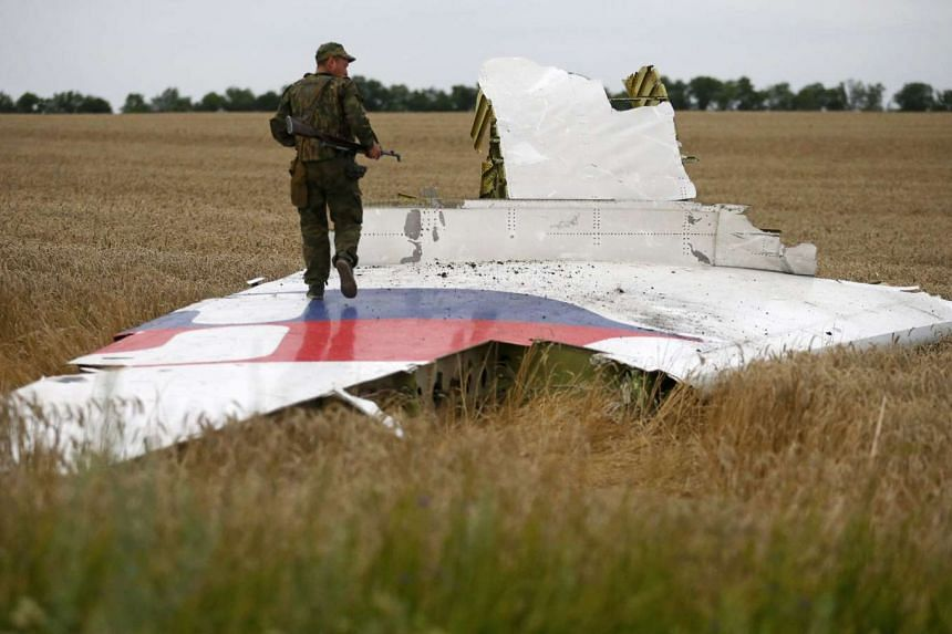 An armed pro-Russian separatist standing on part of the wreckage of the Malaysia Airlines plane after it crashed near the settlement of Grabovo in the Donetsk region, on July 17, 2014.