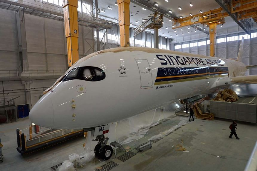 SIA A-350 XWB in the paint shop at the Airbus HQ in Toulouse, France.
