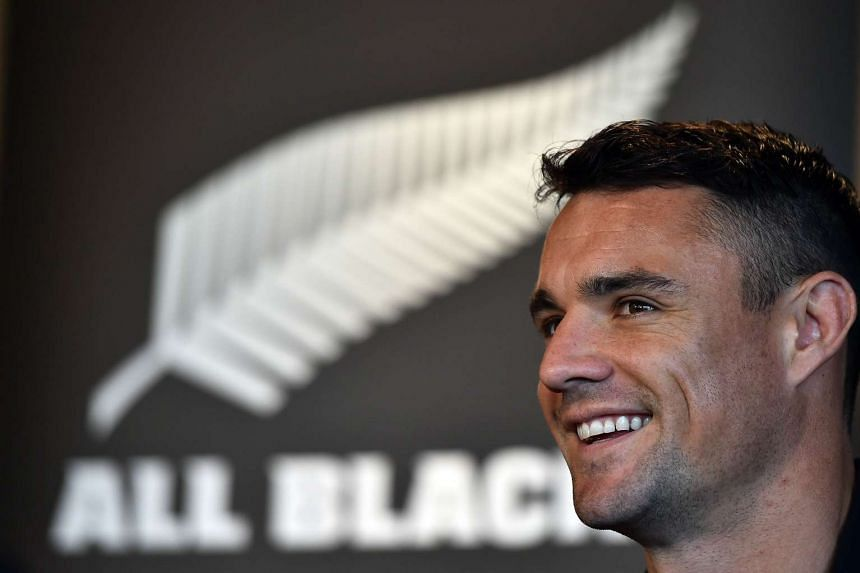 New Zealand All Blacks fly-half Dan Carter attends a press conference in Darlington, north east England on Oct 7, 2015, during the 2015 Rugby World Cup.