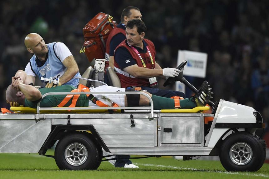 Ireland rugby captain Paul O'Connell getting stretchered off the field after getting injured in the Rugby World Cup match against France in Cardiff, Wales, on Oct 11, 2015.