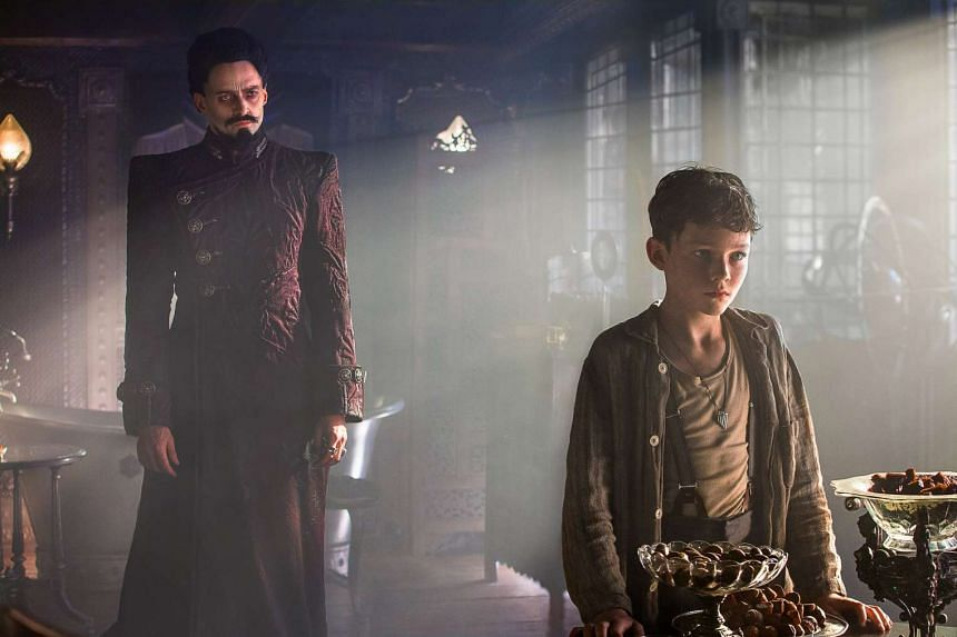 Movie still from the film Pan starring Hugh Jackman and Levi Miller.
