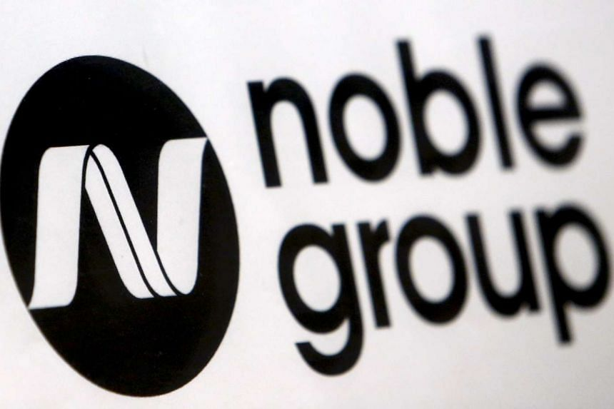 A Noble Group sign is pictured at an event in Singapore.
