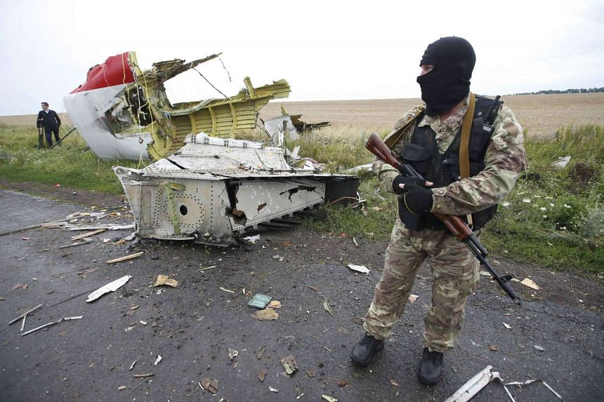 A pro-Russian separatist standing at the crash site of Malaysia Airlines flight MH17, near the settlement of Grabovo in the Donetsk region on Jul 18, 2014.