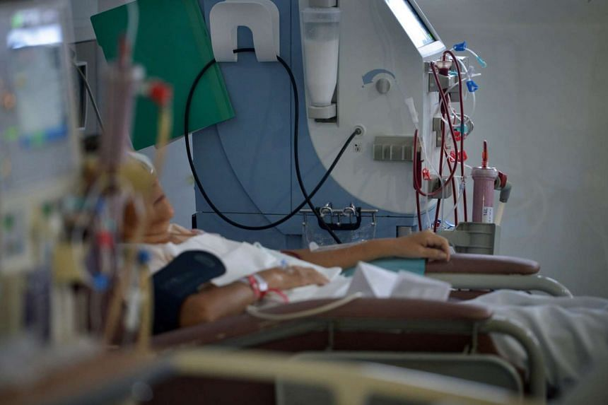 A patient undergoing dialysis at the Renal Dialysis Centre at the Singapore General Hospital.