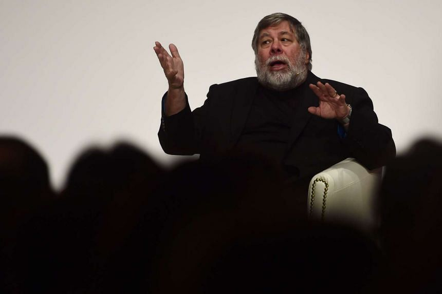 US Apple co-founder and engineer Steve Wozniak gesturing during the South Summit in Madrid on Oct 7, 2015.