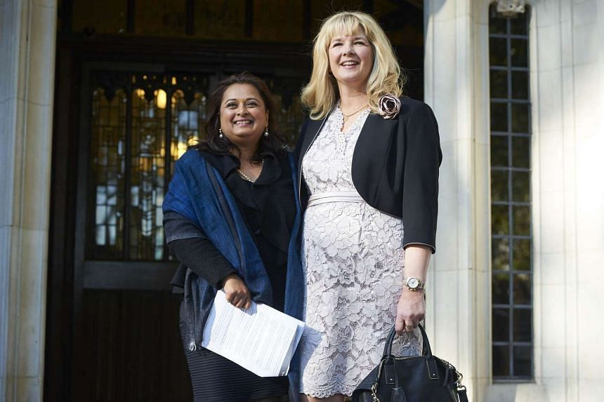 Varsha Gohil (Left) and Alison Sharland outside the Supreme Court on Oct 14, 2015 in London.