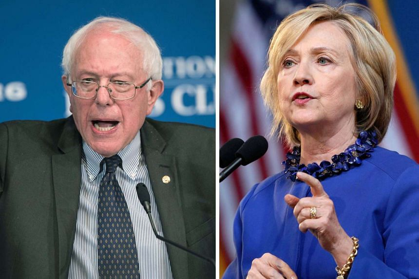 This combination of file photos shows 2016 Democratic presidential candidates Senator Bernie Sanders (left) and former Secretary of State Hillay Clinton.