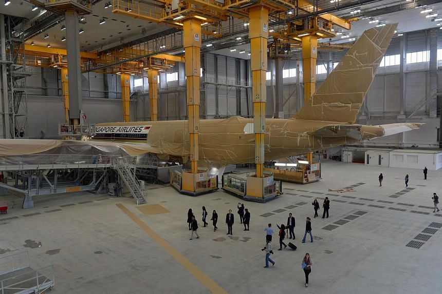 Visit to SIA A350 XWB in the paint shop at the Airbus HQ in Toulouse, France on Oct 12, 2015.