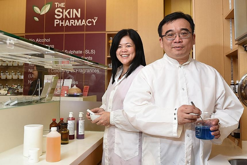 Married pharmacists and founders of The Skin Pharmacy chain of stores Mah Mei Hui (left) and Lau Min-tsek believe in a prudent business strategy, and hope to expand their skincare business overseas to places like Australia, as well as South-east Asia