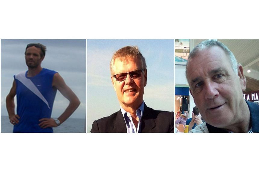 A combination made from undated handout photos shows (from left) Norwegian Kjartan Sekkinstad and Canadians John Ridsdel and Robert Hall, who were kidnapped by unidentified gunmen in the southern Philippines on Sept 21, 2015.