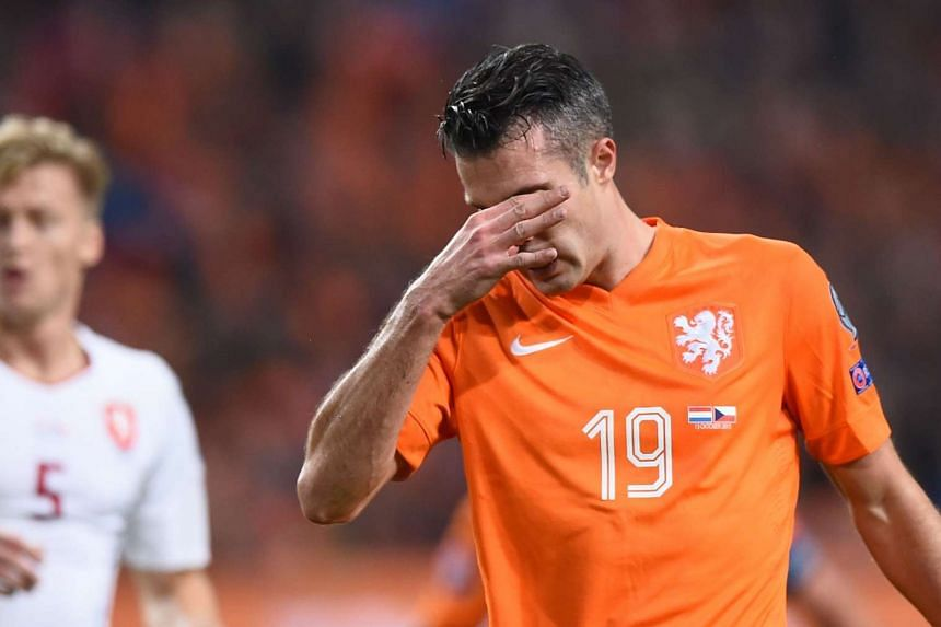 Netherlands' Robin van Persie reacts during the Euro 2016 qualifying fooball match at the Amsterdam Arena in Amsterdam, on Oct 13, 2015.