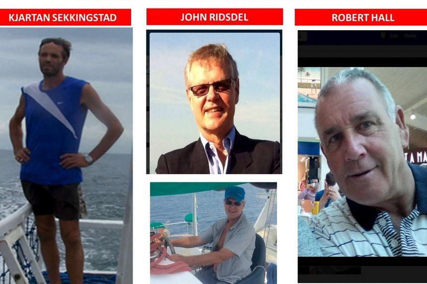 Abducted foreigners Kjartan Sekkingstad (left), a Norwegian national, John Ridsdel (centre photos) of Canada and his compatriot Robert Hall.